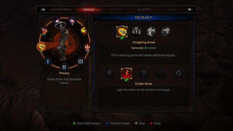 Diablo III skill menu