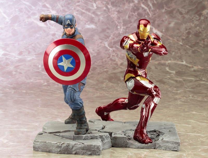 Kotobukiya ARTFX+ Captain America Civil War Iron Man come together